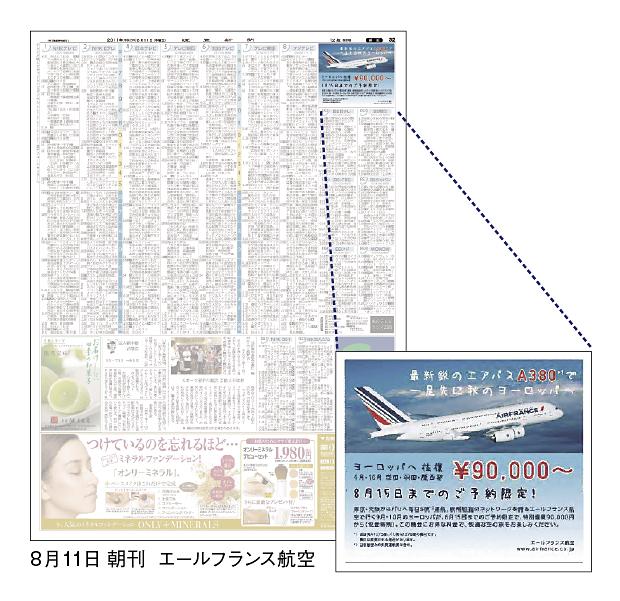 朝刊テレビ面に小枠広告「全国 ...